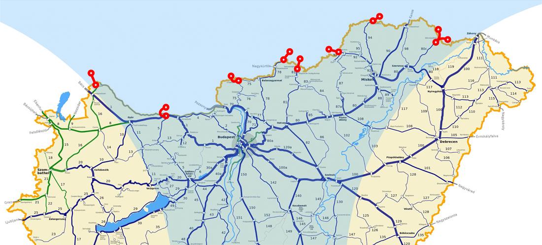 Csak északi szomszédunk felé ennyi helyen korlátozott a (néhol már hiányzó) vágányokon való szabad mozgás lehetősége (a szerző grafikája)