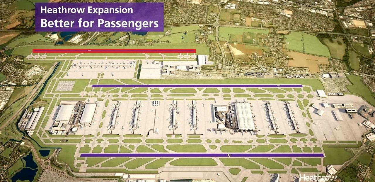 A tervezett harmadik, rövidebb kifutópálya a meglévő kettőtől északabbra a látványterven<br>(forrás: Heathrow Airport)