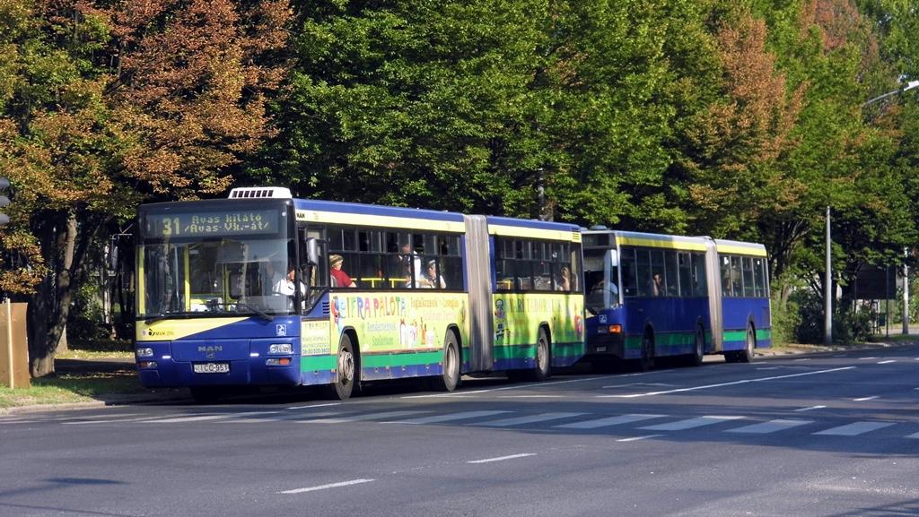 Miskolc közlekedési vállallata, az MVK Zrt. eladásra kínálta fel hatvanegy, kiöregedőben lévő buszát. Az új MAN-gázbuszok érkezésével 2016-ban szinte csak azokból és a közel tízéves Neoplan-csuklósokból áll majd a borsodi megyeszékhely buszflottája. Két búcsúzó járműtípus - MAN SG263 és Ikarus 435 - egymást követő egy-egy példányát kapta lencsevégre a szerző még szeptember első napján Miskolcon a Csabai kapunál