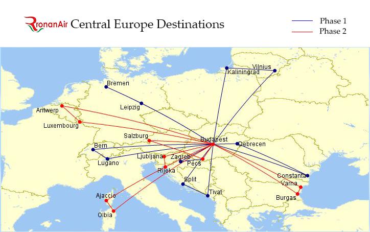 RonanAir tervezett úvonalai - Forrás: IHO