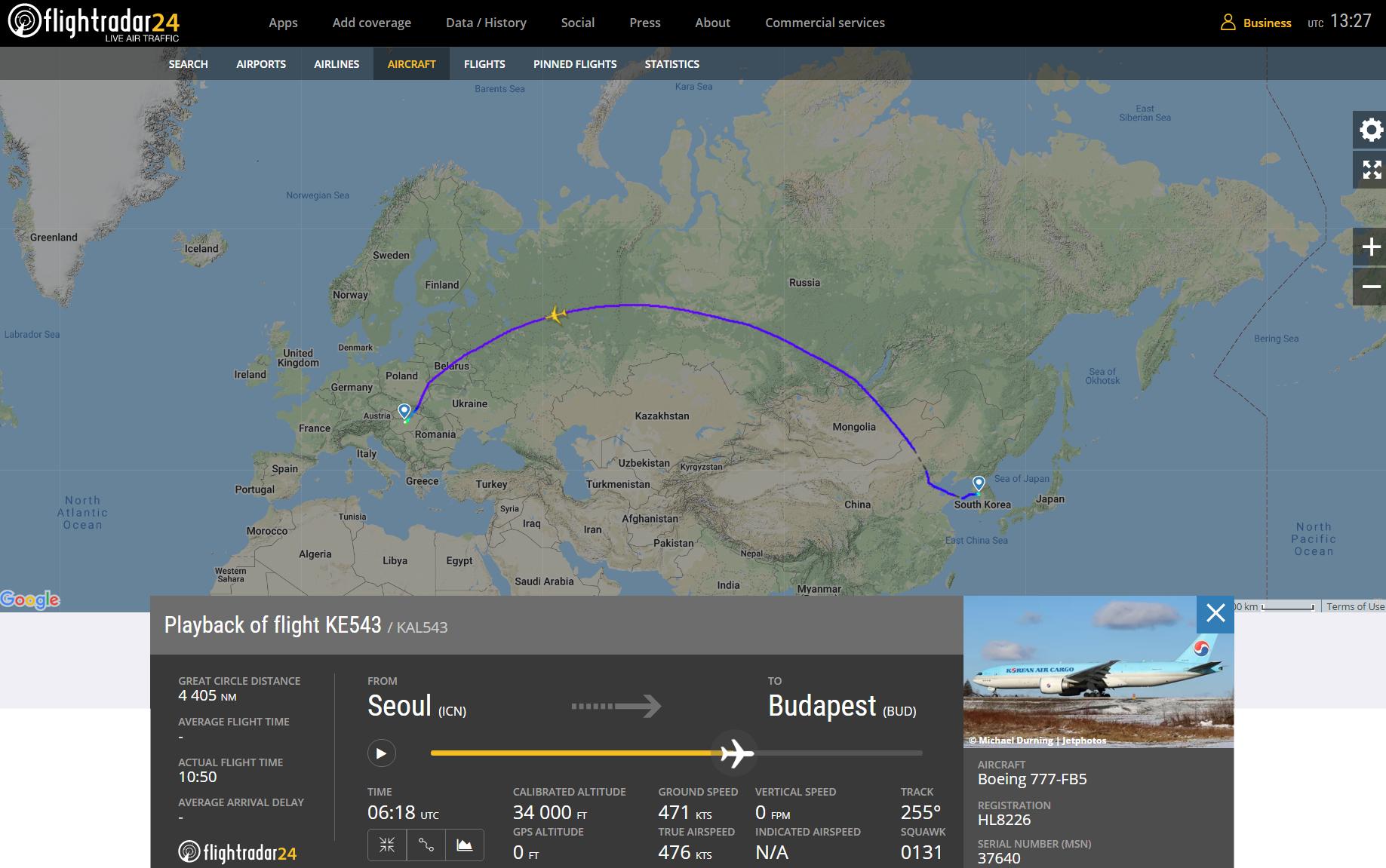 Az első járat útvonala, tegnap este a járat magyar idő szerint 23:23-kor emelkedett a levegőbe. A képre kattintva galéria nyílik (forrás: Flightradar24.com)