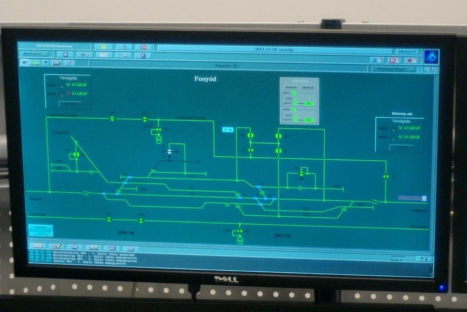 A Köfe-FET monitoron így jelenik meg Siófok felsővezeték-hálózatának pillanatnyi állapota