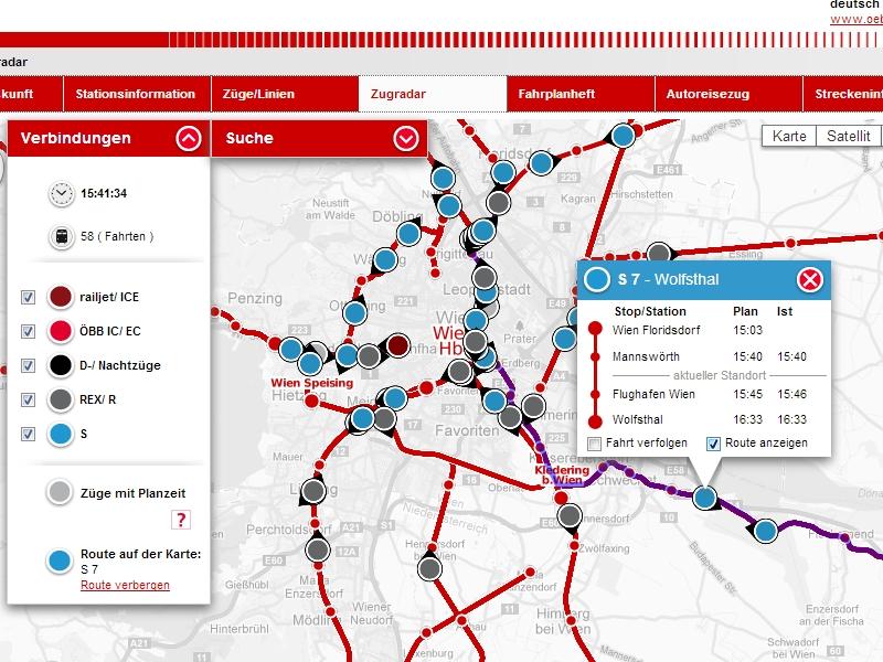 vasúti térkép ausztria IHO   Vasút   Elindult az ÖBB térképes vonatkövetője vasúti térkép ausztria