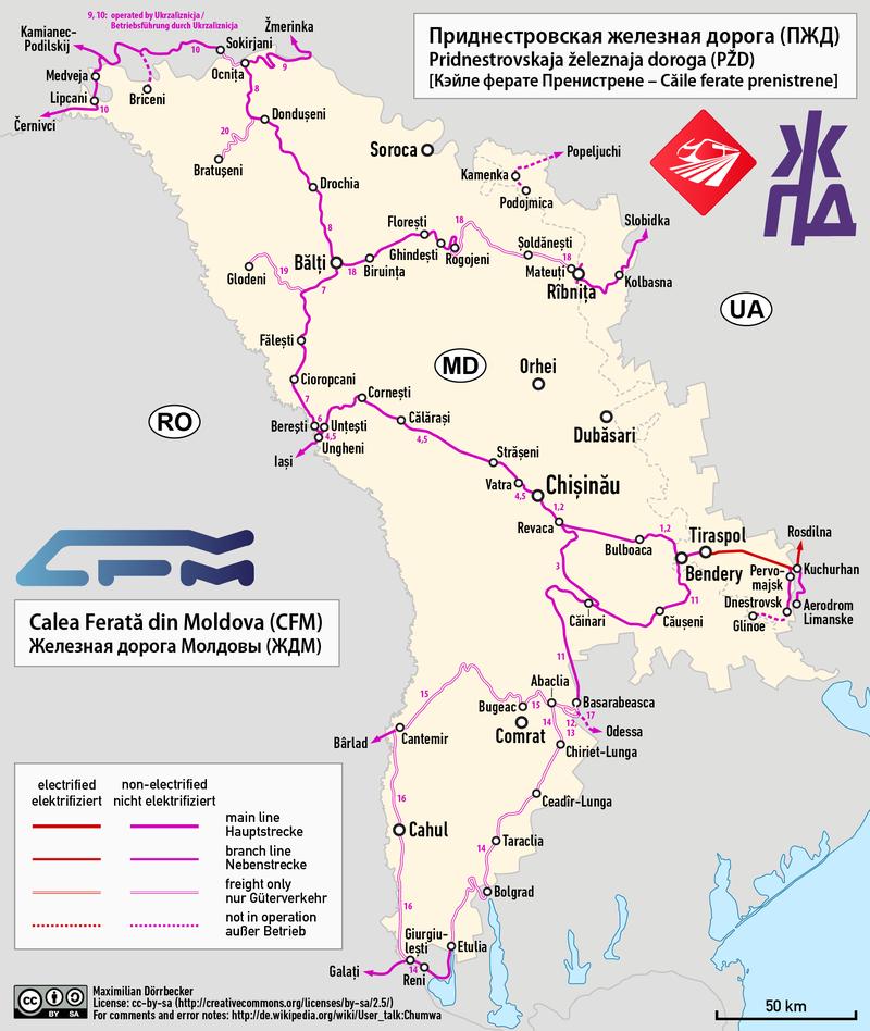 Az ukrán határ közelében haladó vasútvonalat tervezi továbbfejleszteni a CFM (kép forrása: Wikipedia)