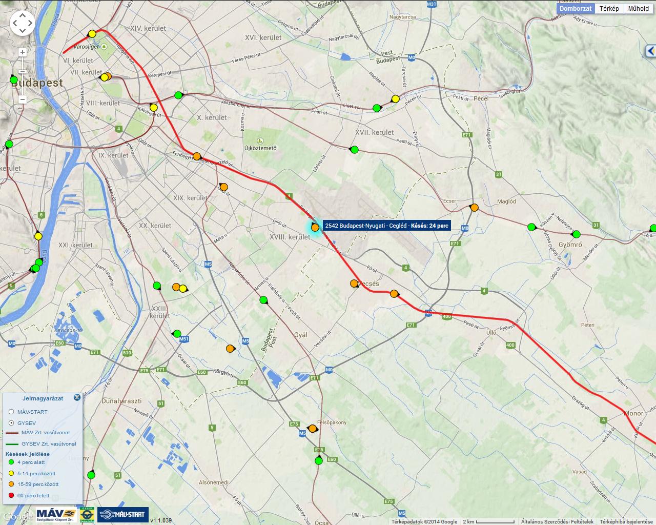 budapest cegléd térkép IHO   Vasút   Munkagép gázolt Vecsésnél, késnek és kimaradnak  budapest cegléd térkép