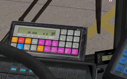 """A linie gombra kattintva írhatjuk be a járat kódját (92-es esetén 09200), majd a route gombbal választhatjuk ki az útvonalat. Az alul jobb oldalt látható gombra kattintva írhatjuk ki a kijelzőre, amit beállítottunk. A legújabb busz esetén SD202 D92-esnél már automata utastájékoztató is van, kijelzővel, amit a Q-val kezelhetünk, vagy az IBIS-en látható kék gombbal. A """"Q"""" folyamatos nyomvatartásával mikrofonunkkal beszélhetünk is az utastérbe"""