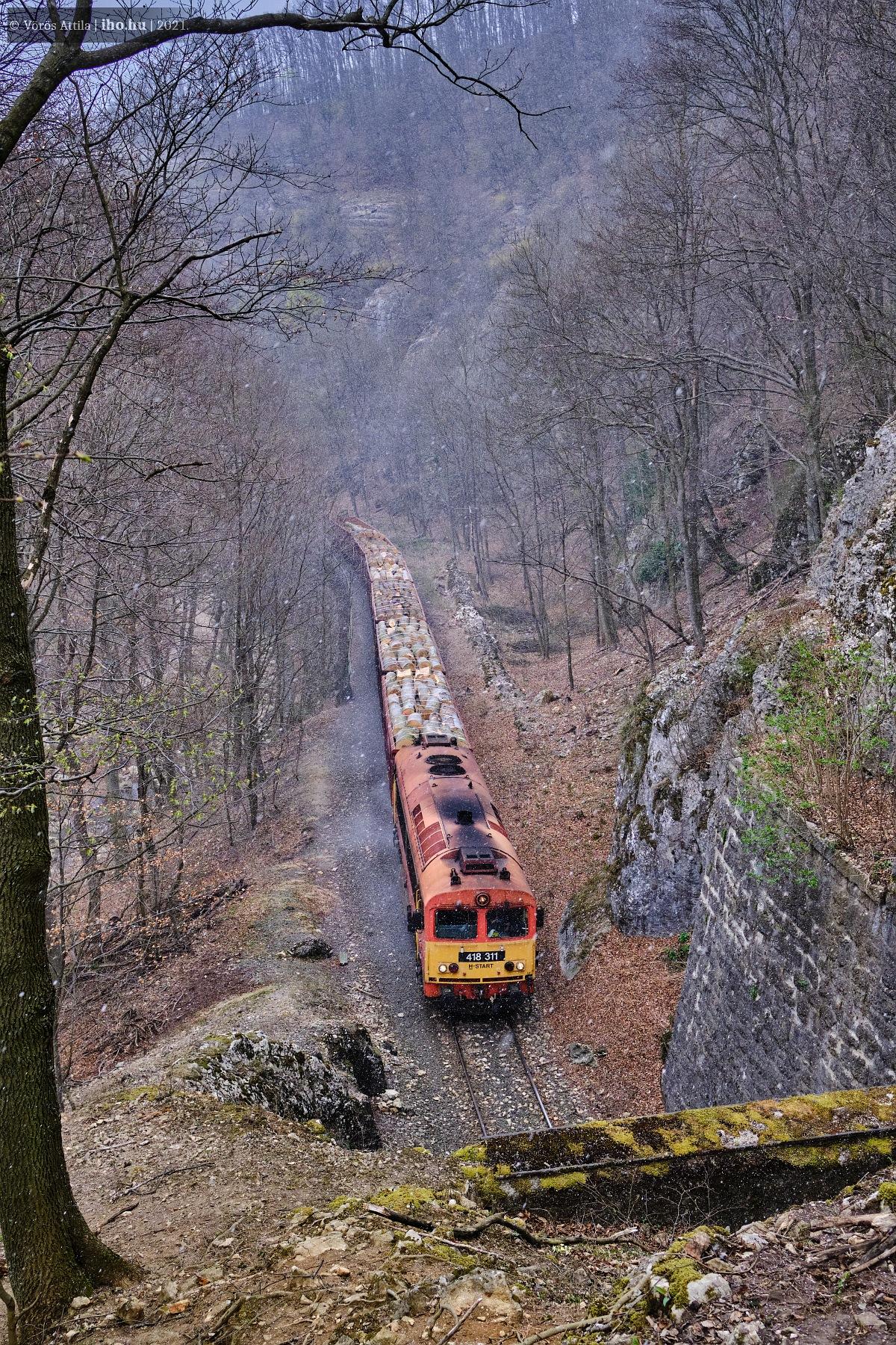 A rakott kocsik élén veti be minden erejét a 311-es gép a Porvai alagút szájánál (fotó: Vörös Attila)