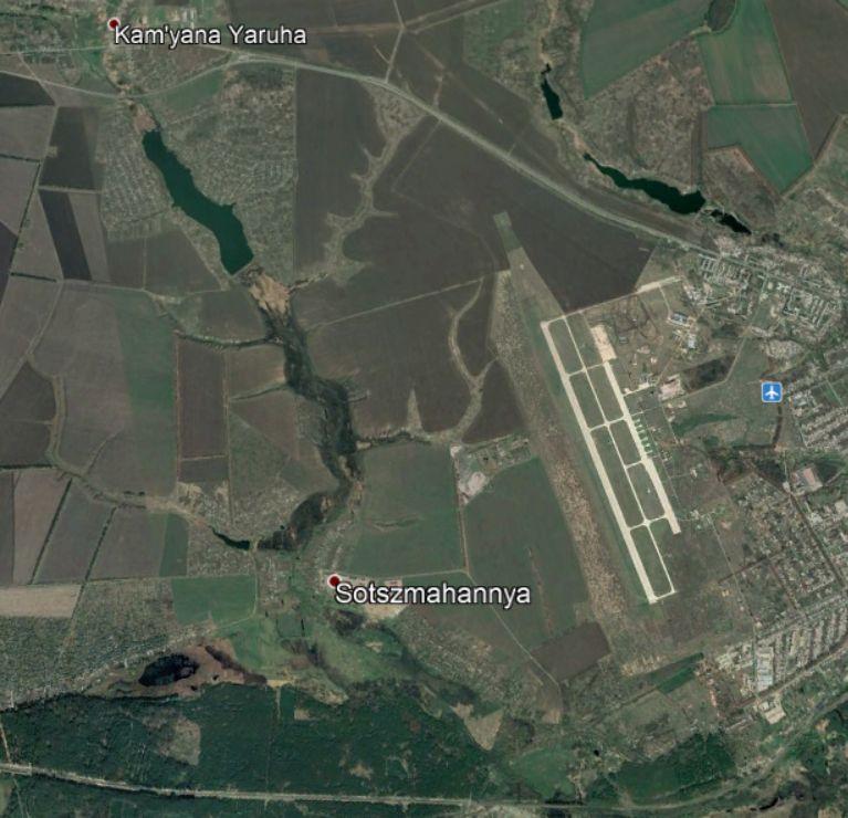 A Csugujevi repülőtér és környéke a Google Earth fotóján