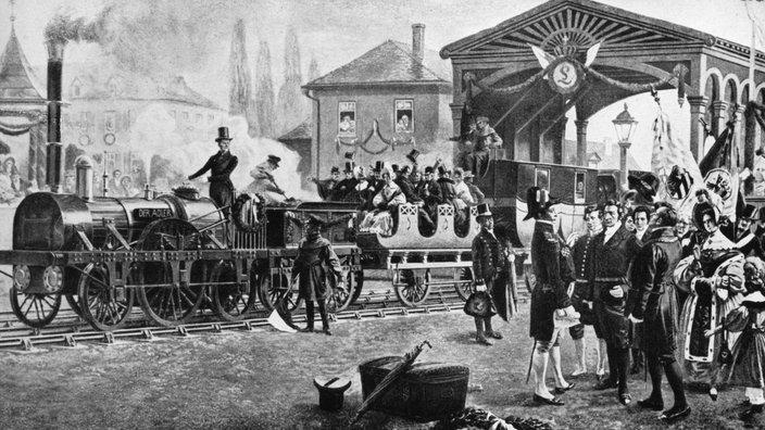 Az első német vasútvonal, a Nürnberg és Fürth közötti Ludwigseisenbahn megnyitása 1835. december 7-én