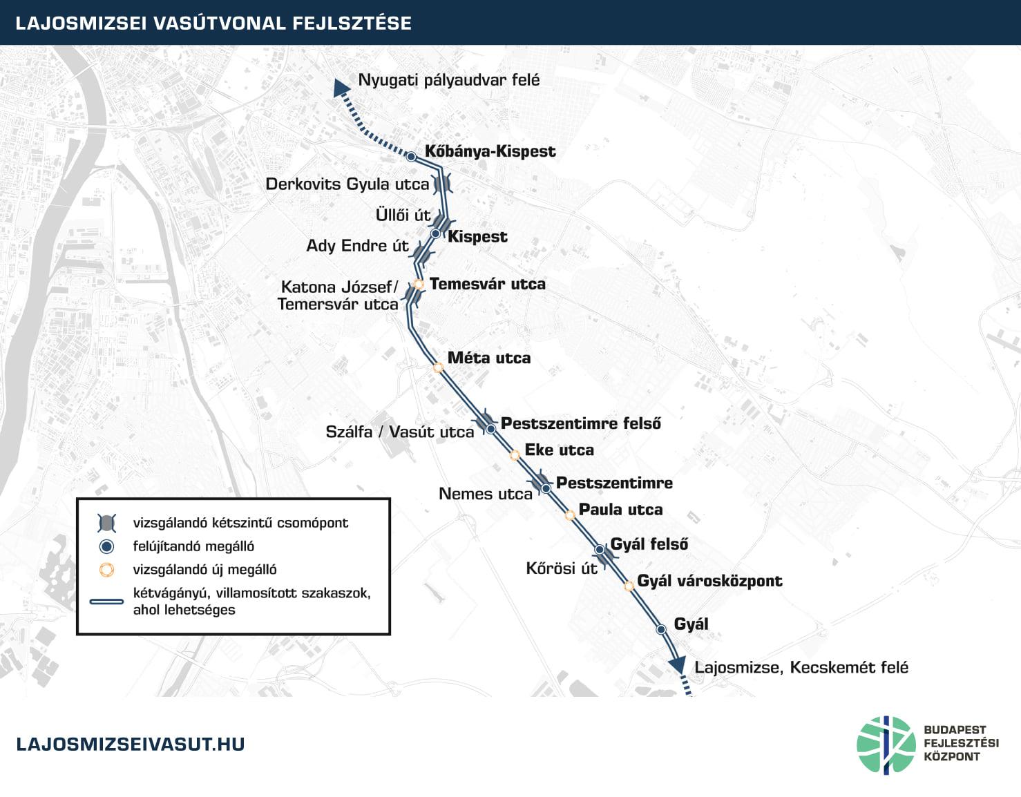A lajosmizsei vonal fővároshoz közelebbi szakasza is jelentősen átalakulhat, több új megállóval, részleges kétvágányúsítással és villamosítással