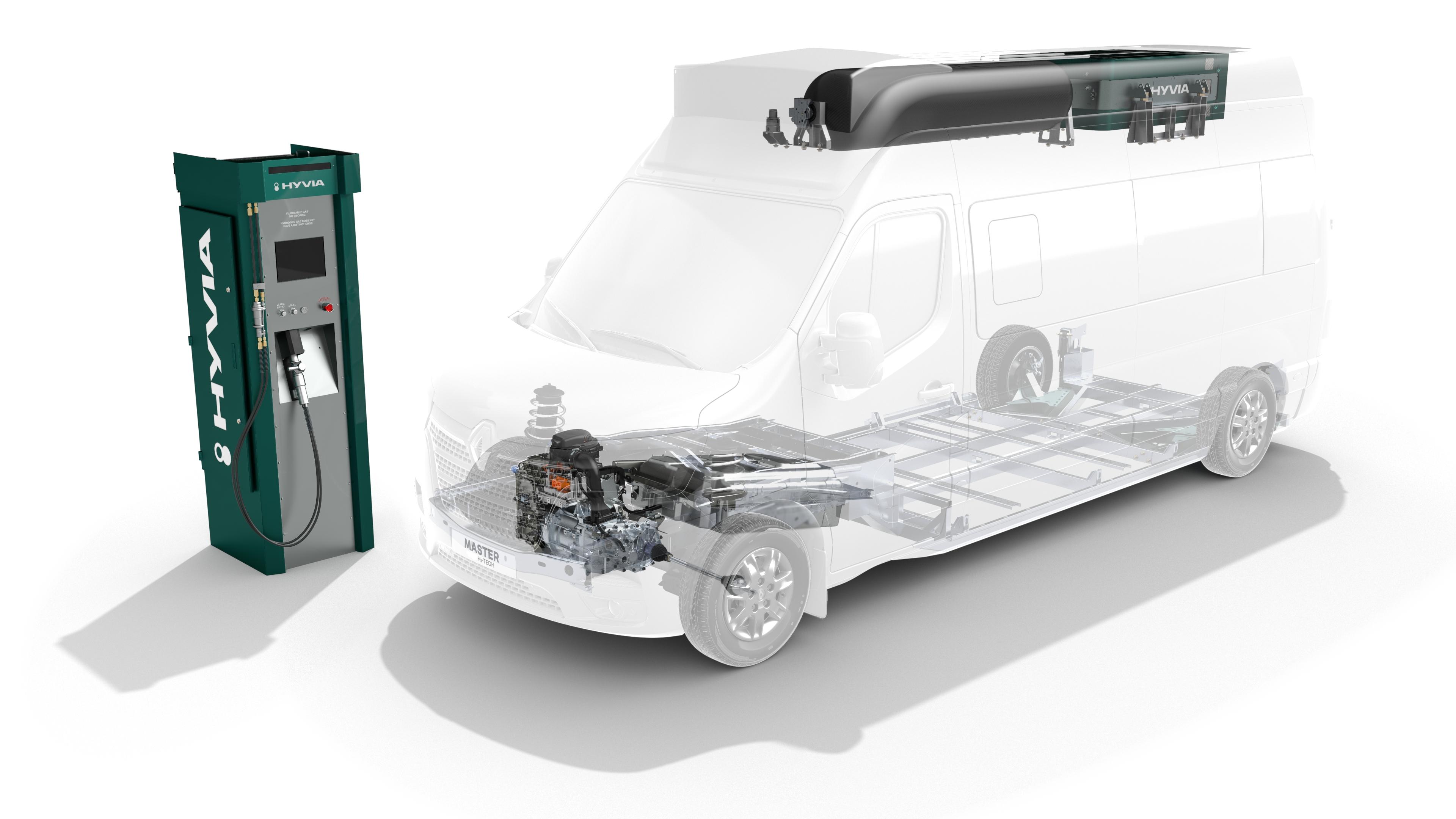 Master Citybus H2-TECH hajtáslánc. Az üzemanyagcella a tetővázba van beépítve