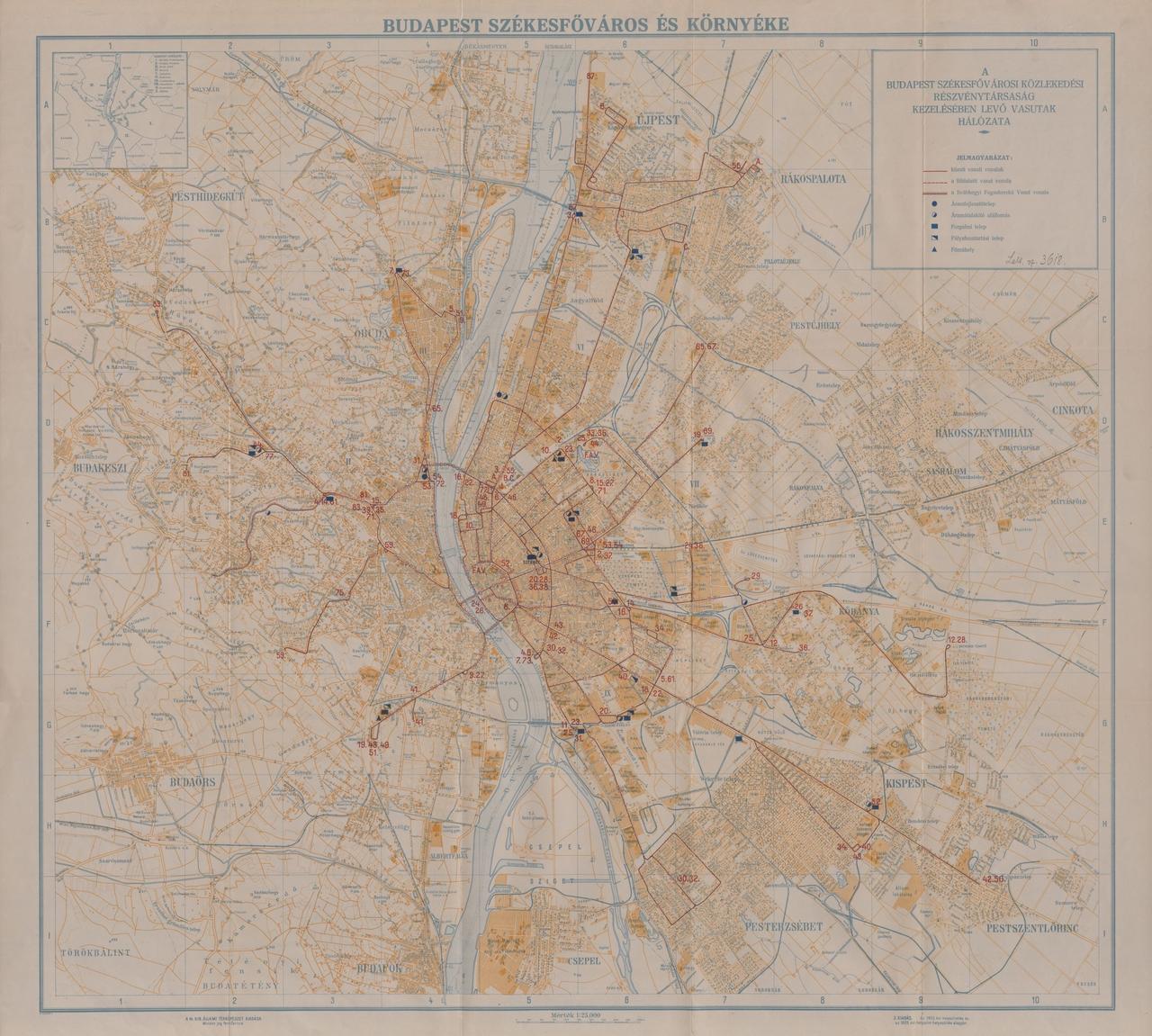 A Budapest Székesfőváros Közlekedési Részvénytársaság kezelésében lévő vasutak hálózata, 1928