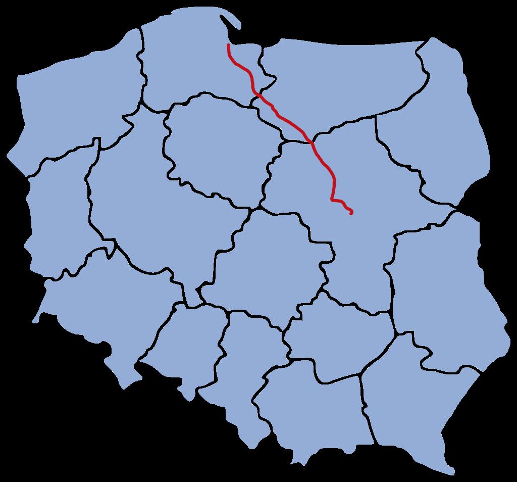 Varsó és Gdansk, továbbá a közeli Gdynia között, összesen 350 kilométeren vált kétszázzal használhatóvá a vasúti pálya (térkép forrása: Wikipedia)