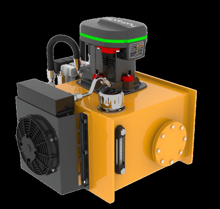 Komplett modulként olajtartályba építve és hűtővel szerelve
