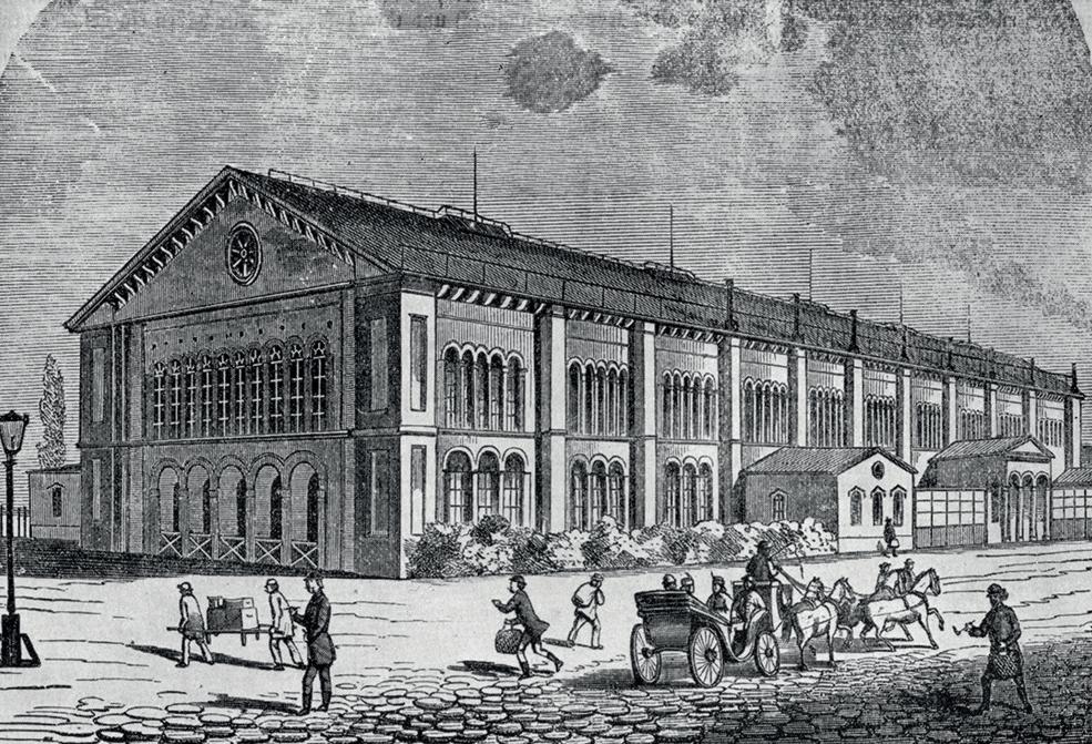 A Feszl Frigyes által tervezet állomásépület, az első pesti indóház (1844–46). Lebontoták az 1870-es évek elején (fotó: Indóház-archív)