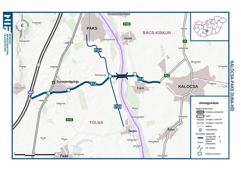 Újabb híd épülhet a Dunán, Paks és Kalocsa környékén (térkép és látványterv: NIF Zrt.)