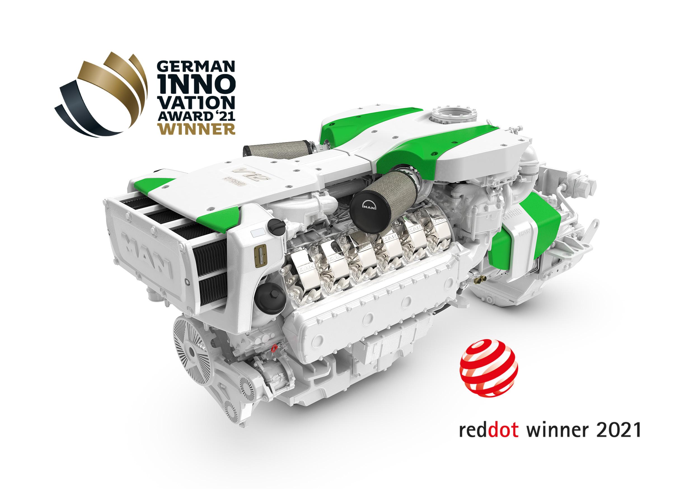 Az MAN D2862 motor, hibrid egységgel, amely innovációs díjat is nyert