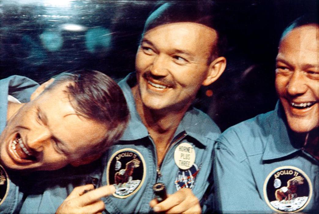 Leszállás után: Armstrong, Collins, Aldrin