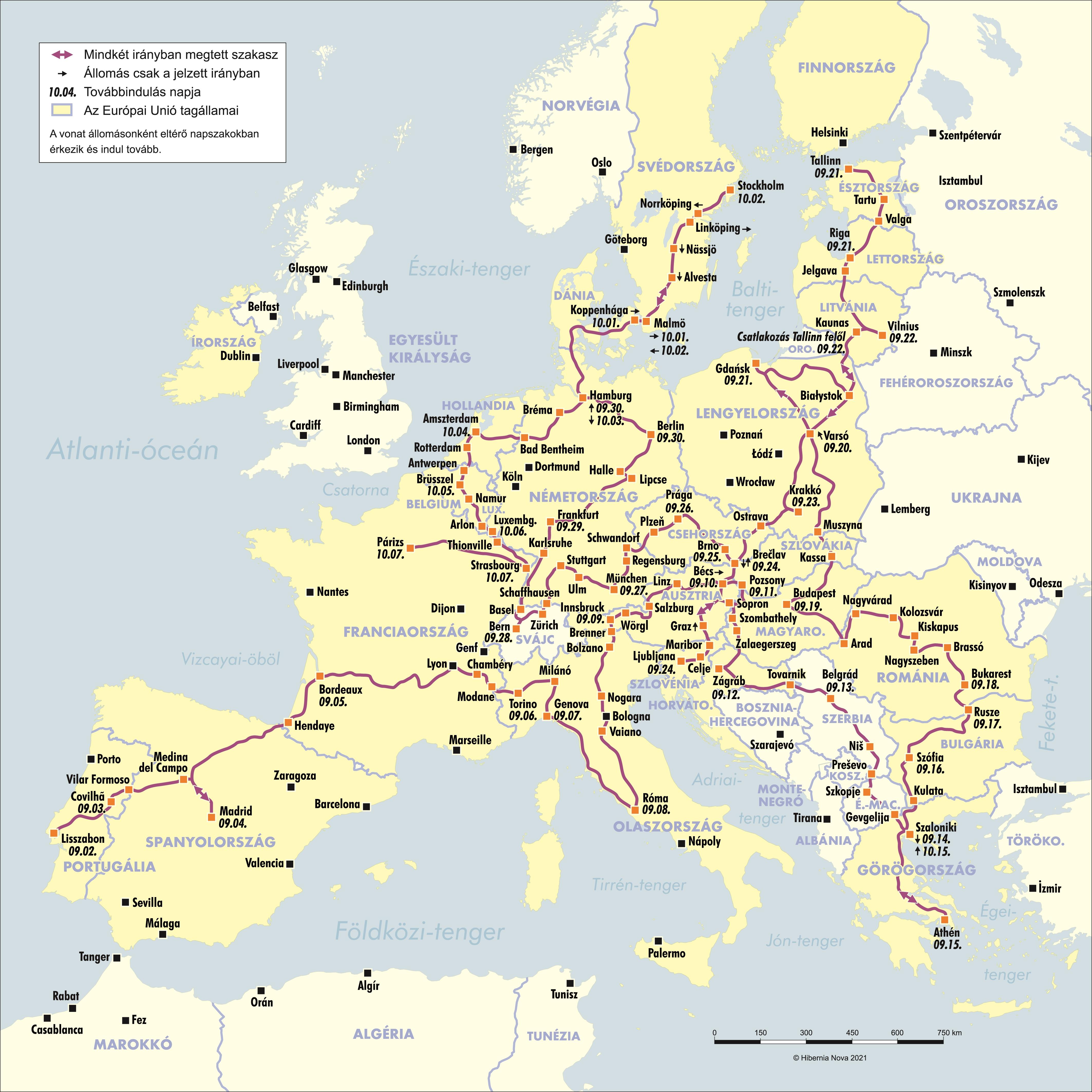 A vonat cikcakkos útvonala Európán át, Párizs lesz a végállomás október hetedikén