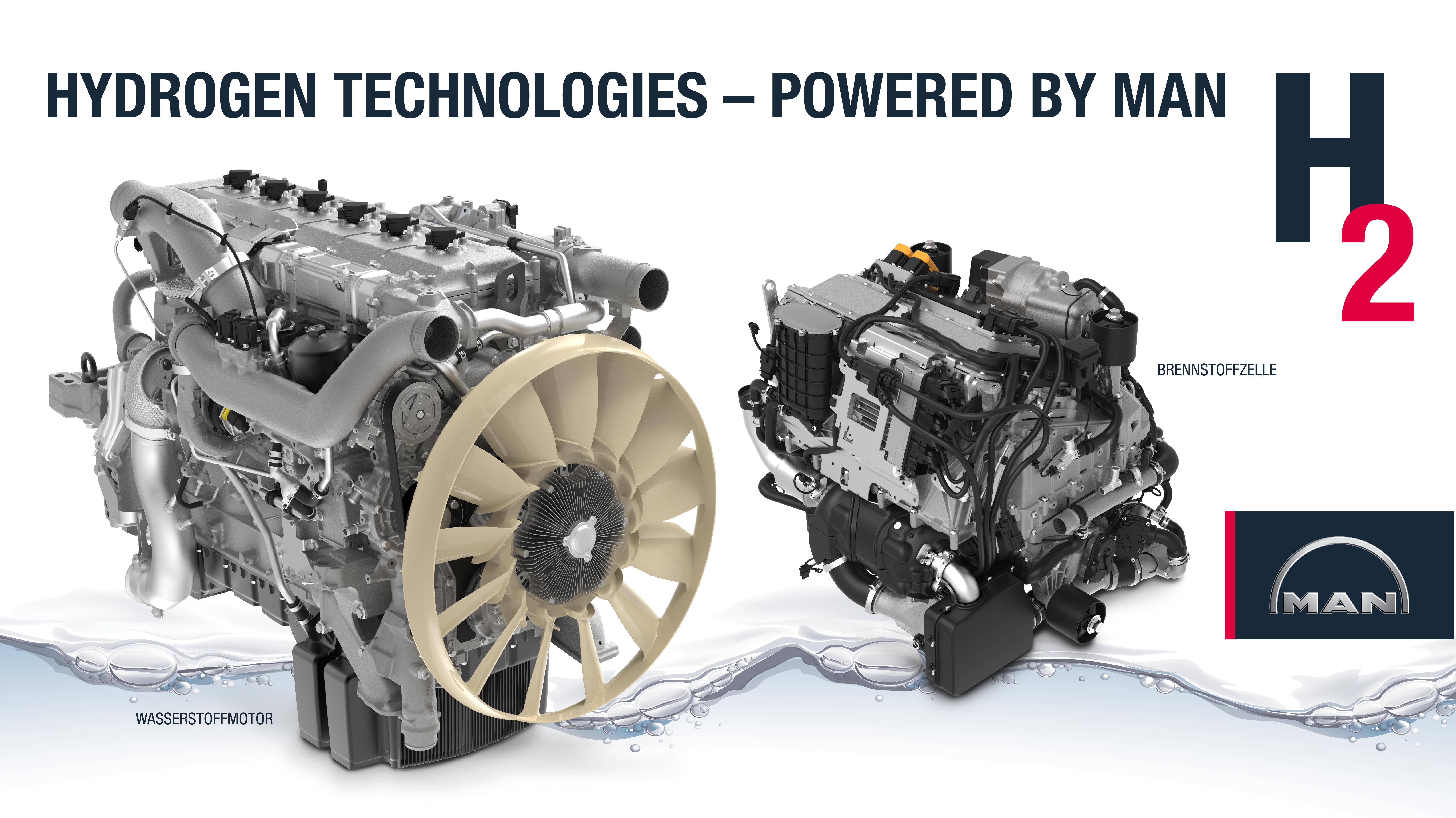 Az első hidrogén üzemű MAN motor és az üzemanyagcella párhuzamosan fognak létezni