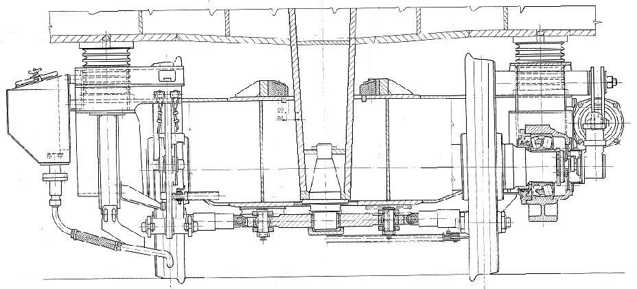 A V46 forgóváz keresztmetszeti képe