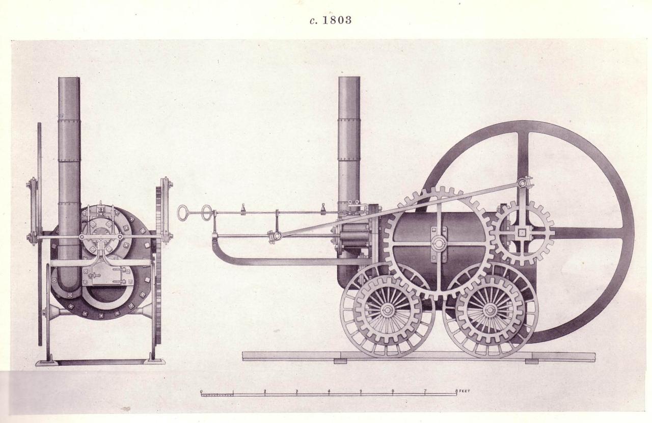 Trevithick gőzmozdonyainak egyike. Tartozunk az igazságnak annyival, hogy leszögezzük, Trevithick a gőzmozdonyok igazi atyja, hiszen ő alkalmazott először mozdonyában nagynyomású gőzt, illetve használt fáradt gőzt kifúvásra a kazán huzatának növelésére