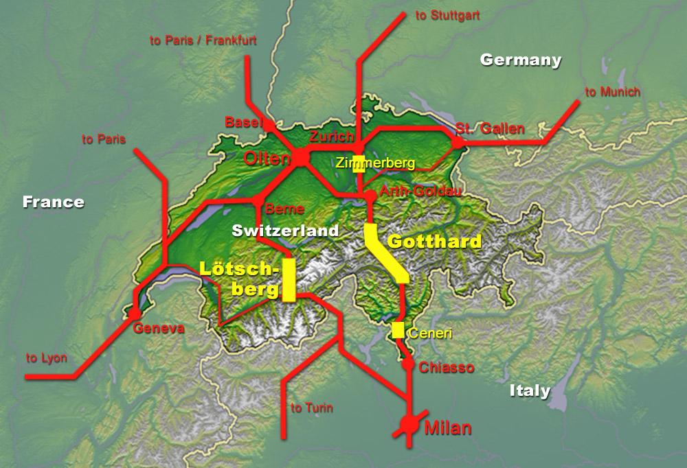 A Lötschberg- és a Gotthárd-bázisalagutak után elkészült a Ceneri is, jelentősen könnyítve és gyorsítva az Alpokon való átkelést (kép forrása: Wikipedia)