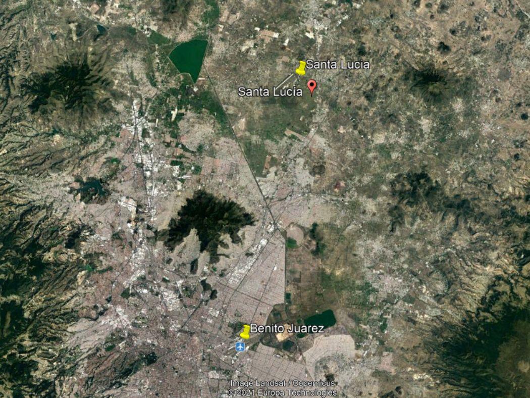 Google Earth-felvétel: a két nagyobb reptér légtere részben fedi egymást
