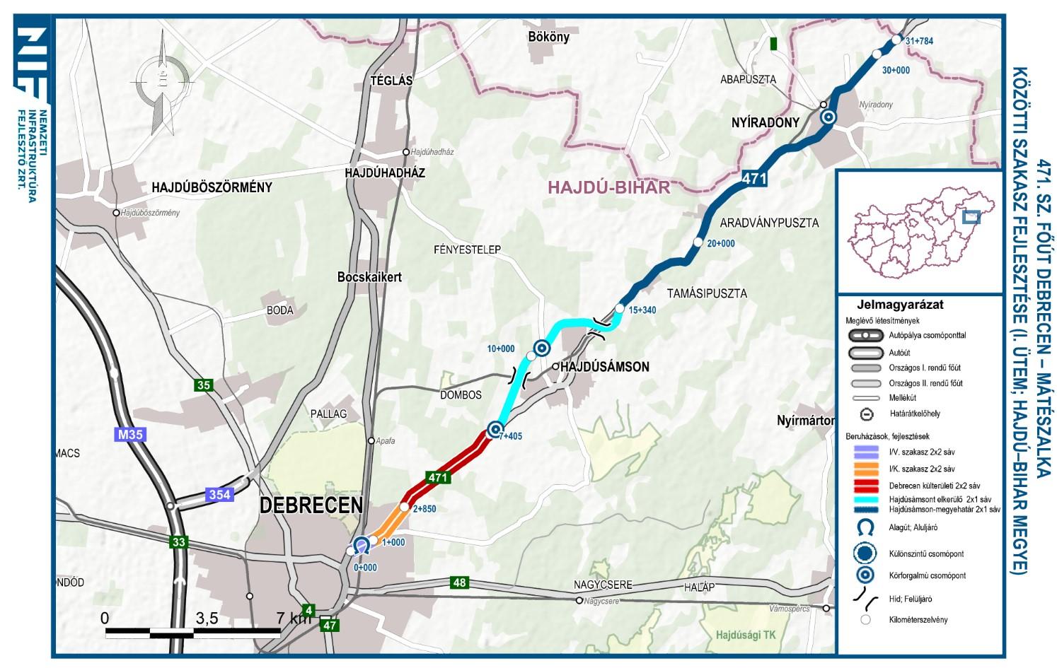 Kétszer két sávossá fejlesztették a 471-es főutat Debrecen és Hajdúsámson között (fotó és térkép: NIF Zrt.)