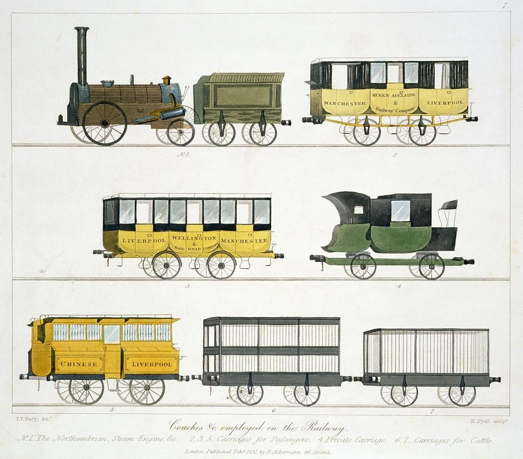 Korabeli vasúti járművek Henry Pyall és T. T. Bury 1831-es rajzán