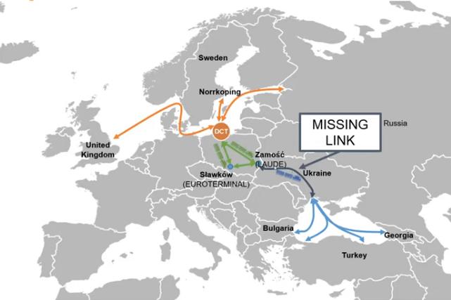 A projekt kiteljesedéséhez elsősorban az ukrán vasúthálózat fejlesztése szükséges (grafikák forrása: Rail Freight)