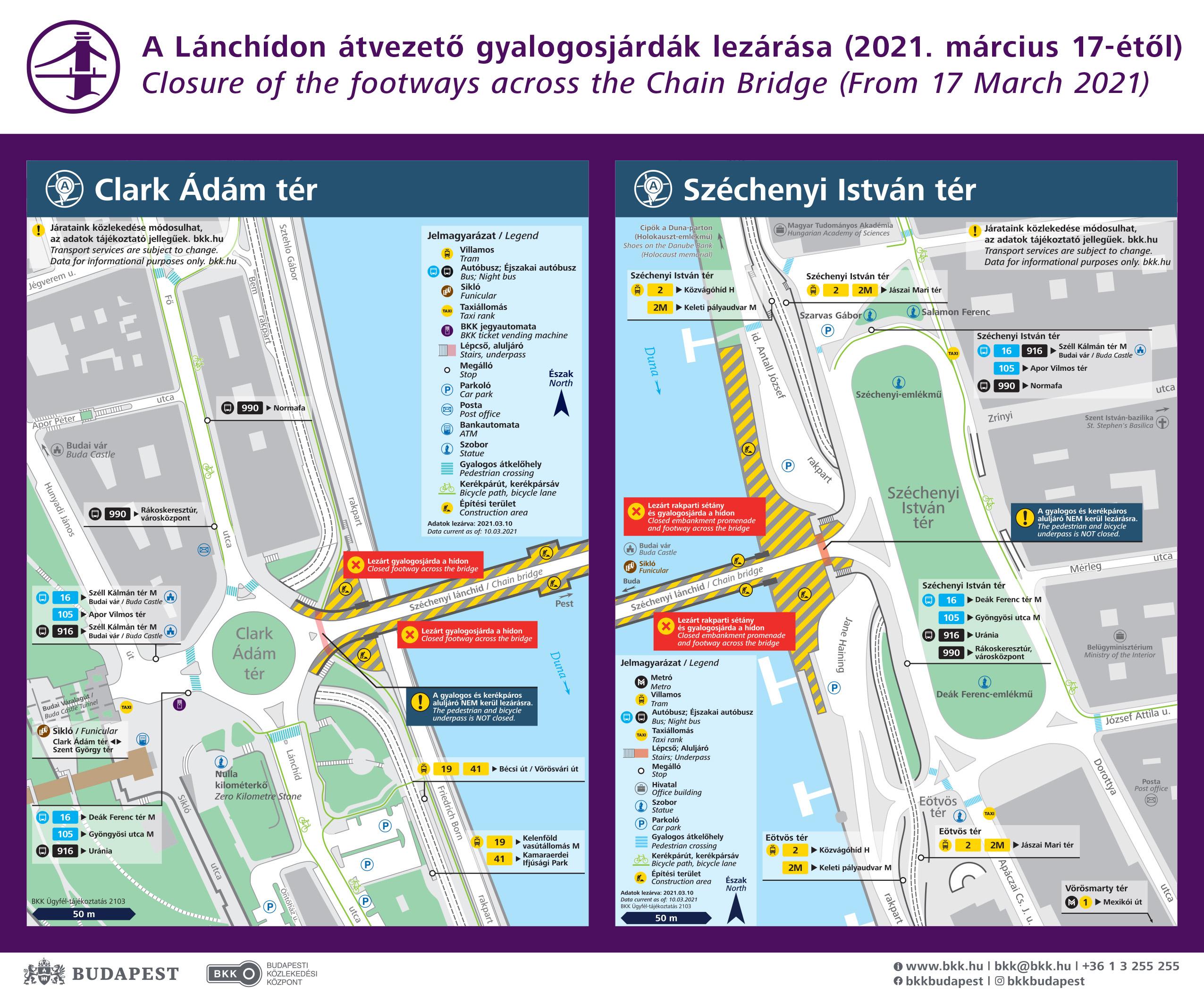 Megkezdődik a Lánchíd felújítása, a munkálatok miatt a műtárgy 2023-ig le lesz zárva a gyalogos forgalom elől (képek forrása: BKK)