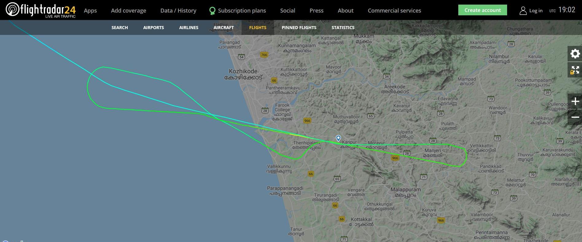 Képernyőmentés a Flightradarról