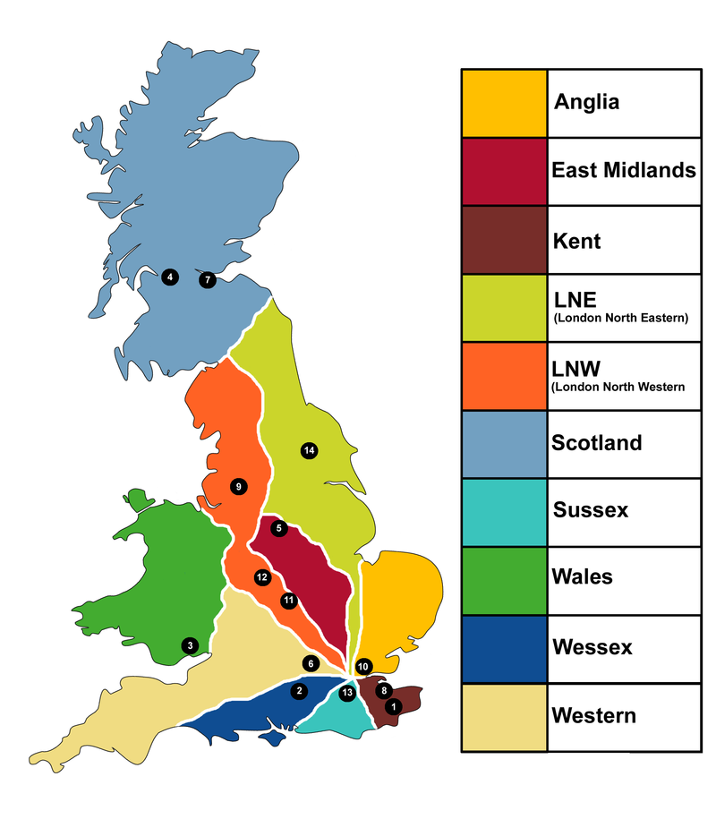 A mai, franchise-rendszerben alkalmazott regionális vasutak területe