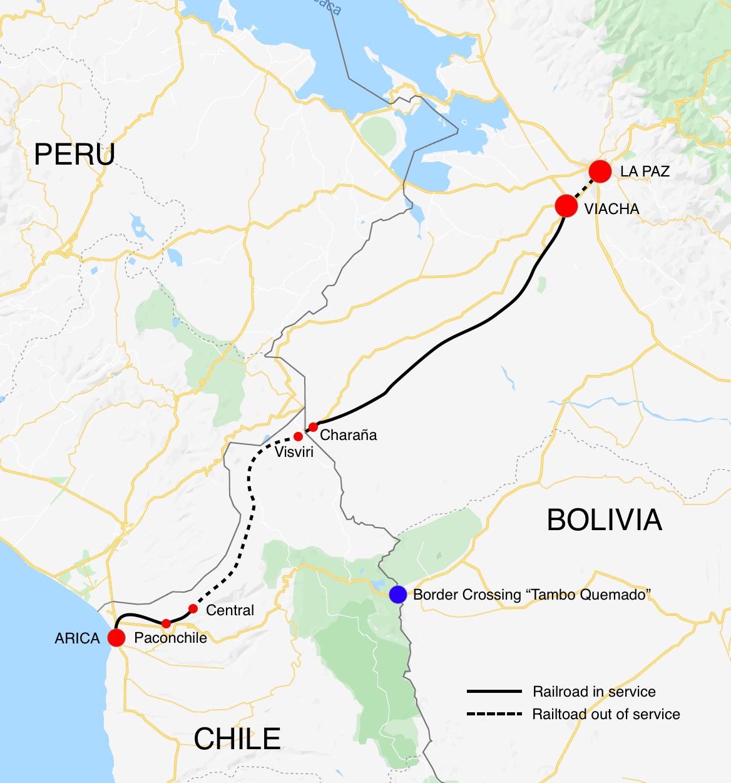 Az Arica–La Paz vasútvonal térképe (forrás: railsouthamerica.com)