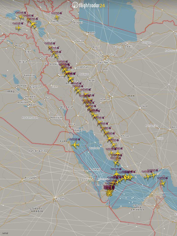 Nyugat felé is csak az iráni légtéren át repülhettek katari gépek
