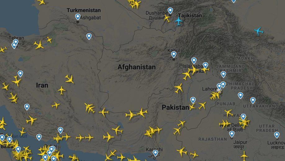 Afganisztánt mindenki elkerüli (Flightradar24)