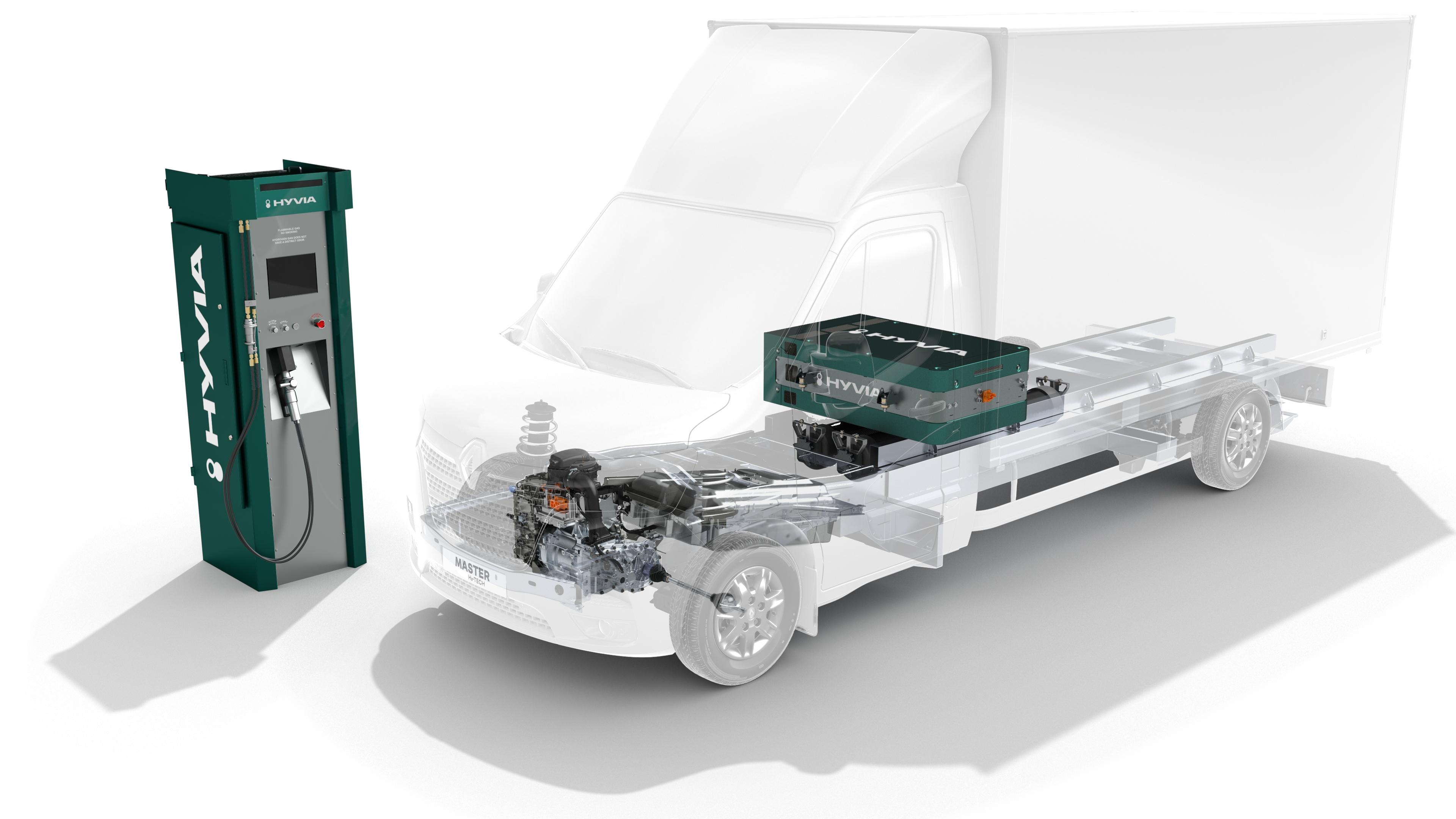 Master Cahssc Cab H2-TECH. Az üzemanyagcella a fülke mögött, lehetőleg a platóba, padlózatba van süllyesztve. A gáztartályok az alvázban hosszirányban vannak beépítve