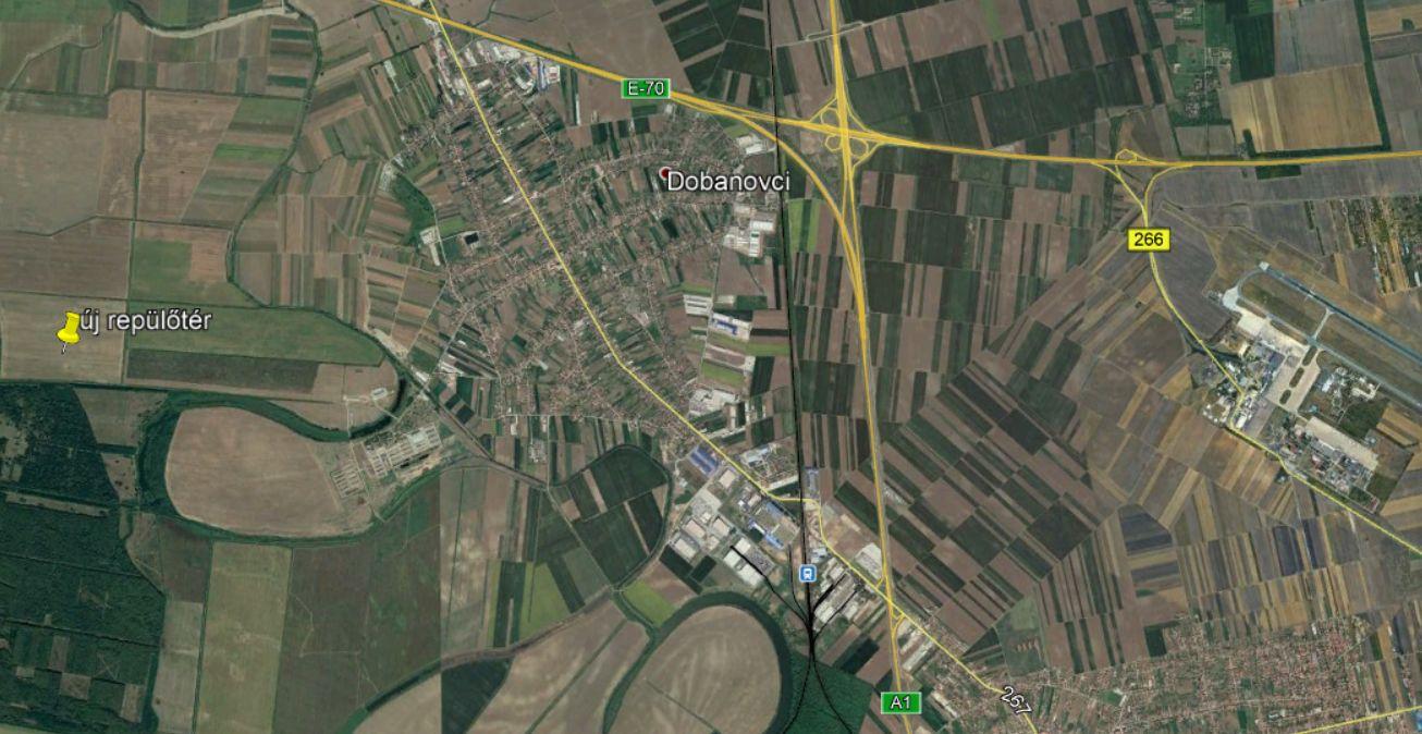 Az új belgrádi reptér valószínű helyszíne, a mostanitól tíz kilométerre