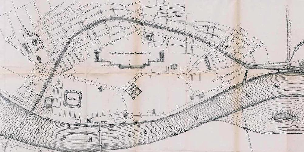 A kép jobb szélén jól kivehető a déli, Boráros téri kamarazsilip, mely közvetlen összeköttetést nyújtott volna a Duna főága felé