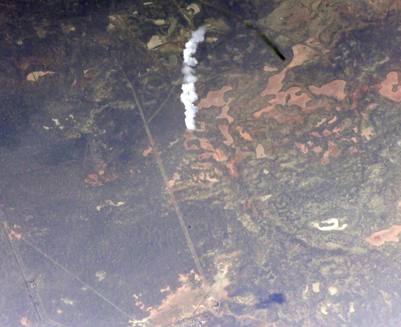 Ivan Vagner így látta az űrállomásról a Bajknour felett emelkedő hordozórakétát...