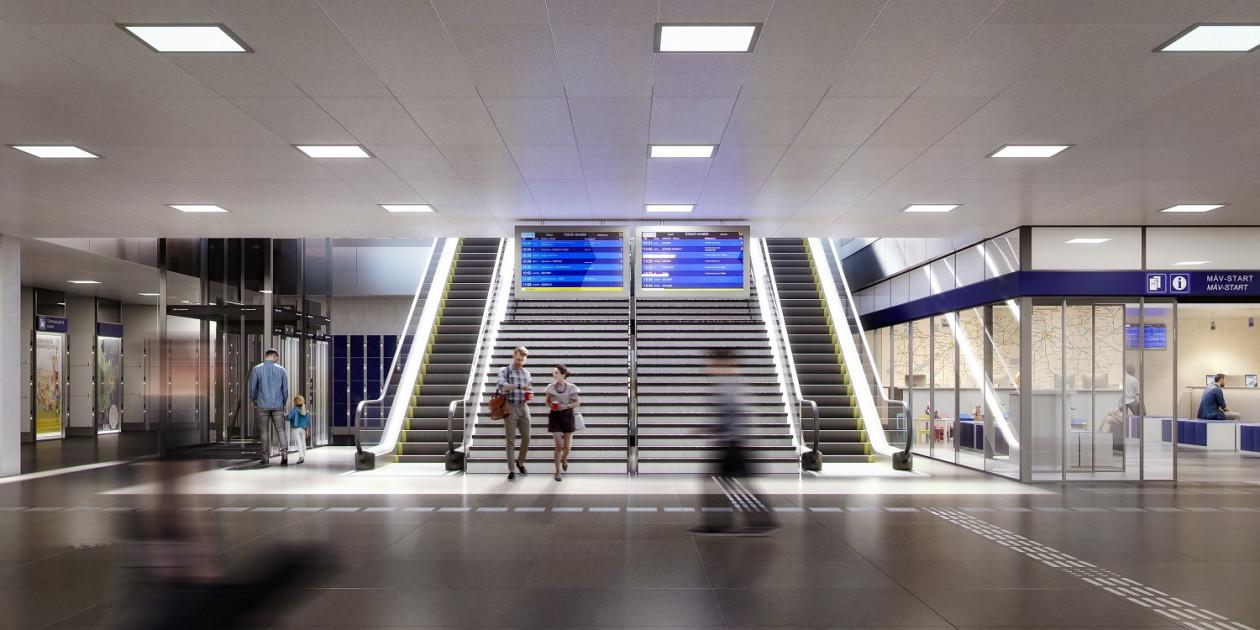 Év végére valósulhat meg a Keleti pályaudvaron az utascentrum, melyet akadálymentesen is meg lehet majd közelíteni (látványtervek: MÁV Zrt.)