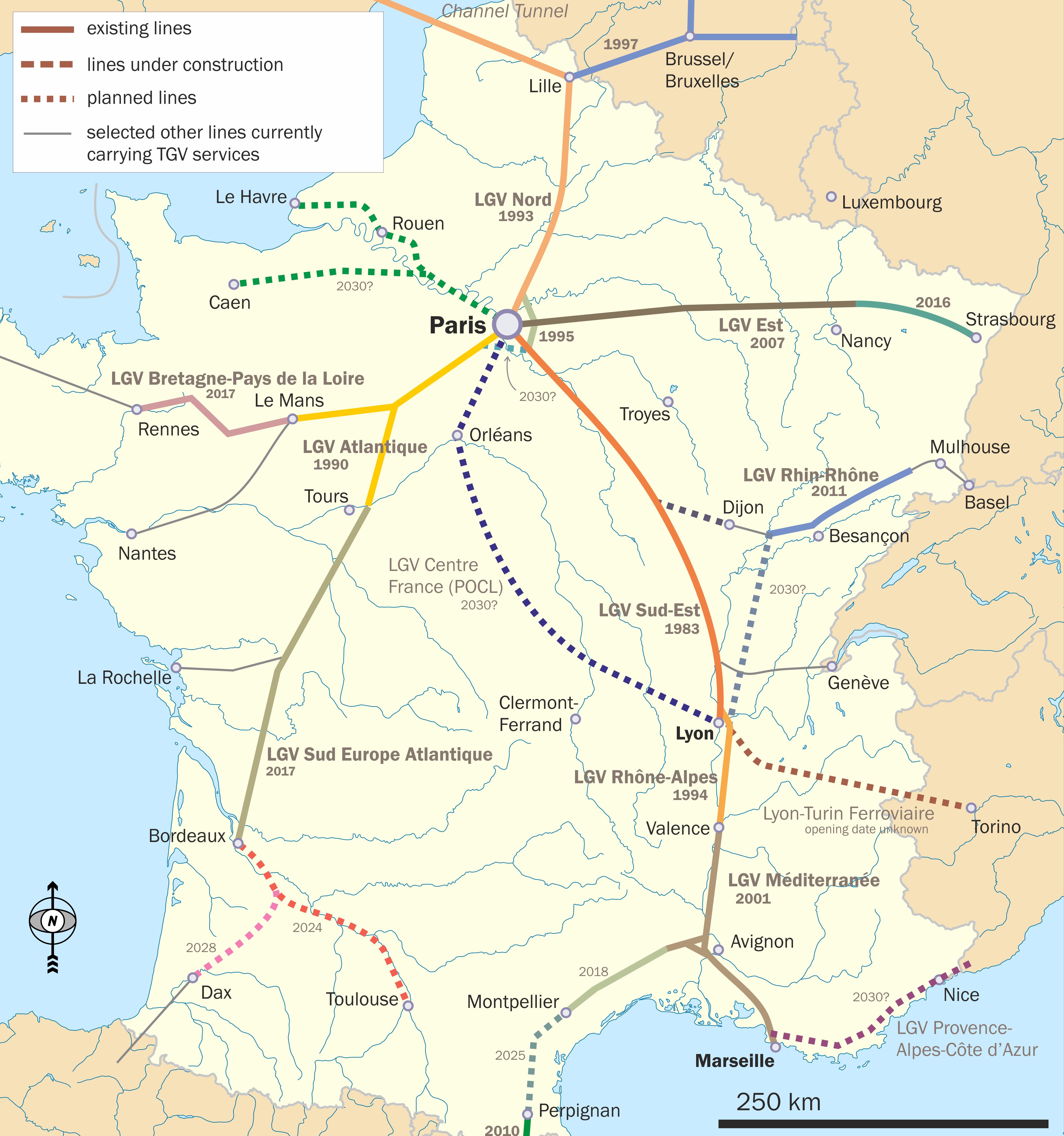 A nagysebességű LGV-hálózat napjainkra sugarasan behálózza Franciaországot, közvetlen járatokkal pedig már a szomszédos országokba is átér (képek forrása: Wikipedia)