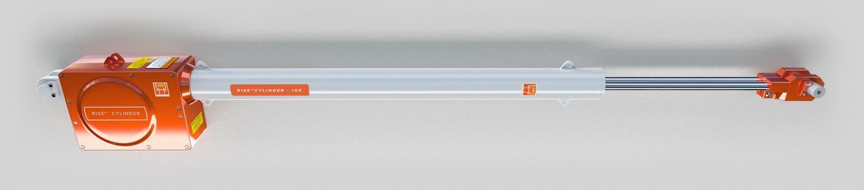 A RISE henger, hidraulika helyett. A baloldalt van a villanymotor és a hevedercsévélő mechanizmus